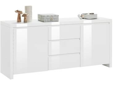 HMW Kommode »Lario«, Breite 164 cm, weiß, weiß/weiß Hochglanz