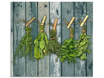 Artland Küchenrückwände »Team 5: Kräuter mit Holzoptik«, grün, 55x60 cm, Grün