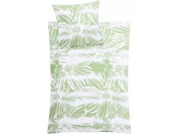 Kleine Wolke Bettwäsche »Rosalie«, mit großen Blumen, grün, 1x 155x220 cm, Mako-Satin, grün