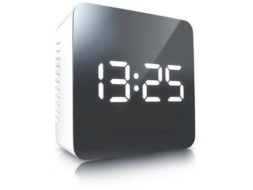 BEARWARE Bearware LED Wecker digital »Spiegelwecker mit Temperaturanzeige & Nachtmodus«, weiß, weiß/silber