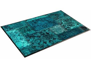 wash+dry by Kleen-Tex Läufer »Vintage Patches«, rechteckig, Höhe 7 mm, blau, 7 mm, blau