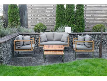 bella sole BELLASOLE Loungeset 5-tlg., 2er-Sofa, 2 Sessel, 2 Tische, Teakholz, grau, grau/holzfarben