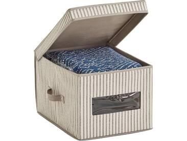 Zeller Present Zeller Aufbewahrungsbox m. Deckel »Stripes«, Vlies, beige, natur, Maße(B/T/H):(30/39,5/25)(B/T/H):(30/39,5/25), natur