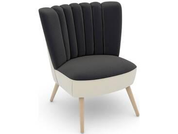 Max Winzer® build-a-chair Stuhlsessel »Aspen« im Retrolook, zum Selbstgestalten, grau, Korpus: Samtvelours creme, Samtvelours anthrazit