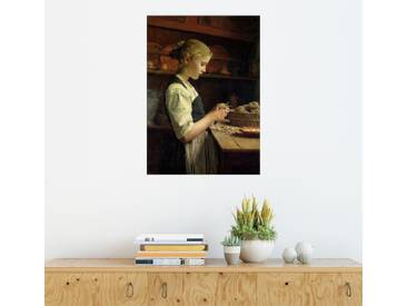 Posterlounge Wandbild - Albert Anker »Die kleine Kartoffelschälerin«, bunt, Holzbild, 120 x 170 cm, bunt