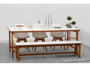 Home affaire Speisen-Set »Construction« 2-teilig, bestehend aus Tisch und Bank, weiß, Tisch 200cm und Bank 180cm, weiss/ Eiche