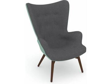 Max Winzer® build-a-chair Hochlehner Stuhlsessel »Arne« im Retrolook, zum Selbstgestalten, grau, Korpus: Flachgewebe 16452 aqua