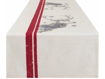 CASATEX Tischläufer »Hirsch« (1-tlg), natur, Baumwolle, beige-grau-rot
