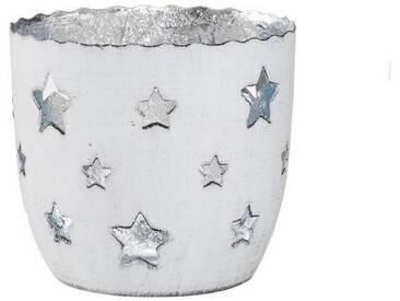 BUTLERS DELIGHT »Teelichthalter Sterne klein«, weiss-silber, Ø 8 cm, Höhe 7 cm