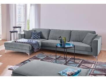 Guido Maria Kretschmer Home&Living Ecksofa »Juta«, modern, mit hochwertigen Metallfüßen, grau, 310 cm, Recamiere links, grau