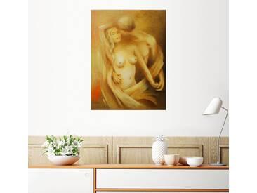 Posterlounge Wandbild - Marita Zacharias »Verliebtes Pärchen - Klassische Aktmalerei«, gelb, Holzbild, 120 x 160 cm, gelb