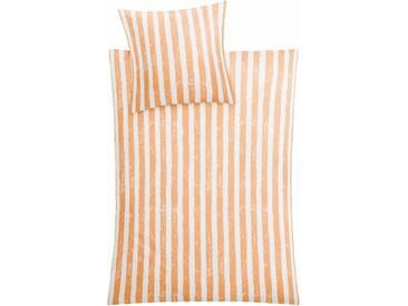 Kleine Wolke Bettwäsche »Stripe«, mit Streifen, orange, 1x 155x220 cm, Mako-Satin, orange