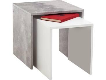 FMD Furniture Beistelltisch-Set »Bornholm«, weiß, beton/weiß