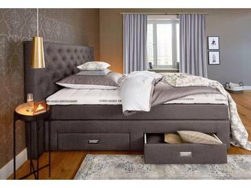 Guido Maria Kretschmer Home&Living GMK Home & Living Boxspringbett »Aivi«, mit Schubkästen, braun, Bonnell-Federkernmatratze H2, graubraun