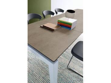 connubia by calligaris Tisch mit Tischplatte aus Keramik »Airport CB/4011«, braun, Metall satiniert, Keramik haselnussbraun