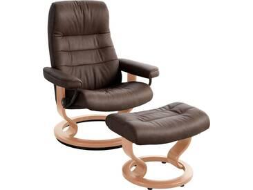 Stressless® Set: Bequemsessel mit Hocker »Opal« mit Classic Base, Größe L, mit Schlaffunktion, braun, Fuß naturfarben, chocolate