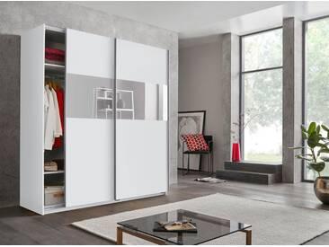 Wimex Schwebetürenschrank »Bramfeld« mit Glaselementen und zusätzlichen Einlegeböden, weiß, Höhe: 198 cm, Breite: 180 cm, weiß/Absetzung Weißglas
