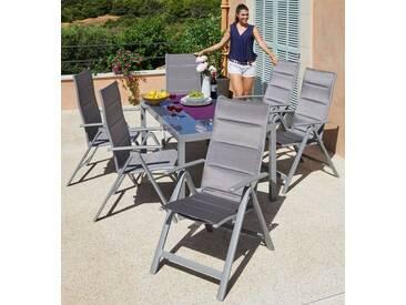 MERXX Gartenmöbelset »Taviano«, 7-tlg., 6 Klappsessel, Tisch 150x90 cm, Alu/Textil, silberfarben, silberfarben