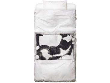 Juniqe Bettwäsche »Katze im Karton«, In vielen weiteren Designs erhältlich, schwarz, 1x 135x200 cm, Renforcé, schwarz-weiß