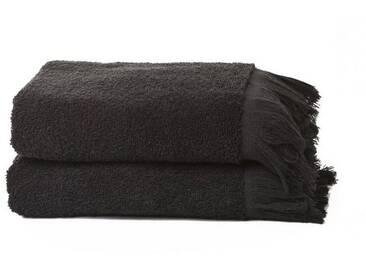 Casa di Bassi Handtuch Set »mit Fransenabschluss«, Abschluss mit Fransen, schwarz, schwarz