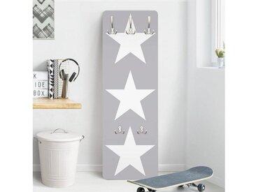 Bilderwelten Kindergarderobe 139x46x2cm »Große weiße Sterne auf grau«, grau, 139x46 cm, 139x46 cm, Grau