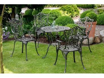 MERXX Gartenmöbelset »Lugano«, 5tlg., 4 Sessel, Tisch Ø 70 cm, Aluminium, schwarz, schwarz