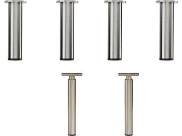 hammel Möbelfuß »MISTRAL«, silberfarben, Stahl, gebürsteter Stahl, rund