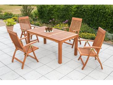 MERXX Gartenmöbelset »Commodoro«, 5tlg., 4 Sessel, Tisch, klappbar, Eukalyptusholz, natur, natur