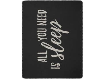 BIEDERLACK Wohndecke »All you need«, mit Schriftzug, grau, Baumwolle-Kunstfaser, anthrazit