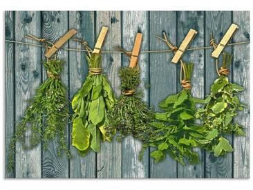 Artland Küchenrückwände »Team 5: Kräuter mit Holzoptik«, grün, 55x80 cm, Grün
