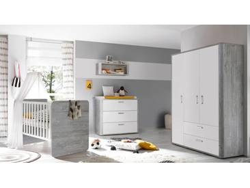 Komplett Babyzimmer »Aarhus« Babybett + Wickelkommode + Kleiderschrank, (3-tlg.) in vintage grau/weiß matt Lack, grau, vintage grau/weiß matt Lack