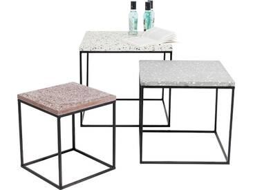 KARE Design Beistelltisch »Terrazzo« (3er-Set), bunt, Maße (B/T/H): 30/30/33 cm, 40/40/38 cm und 48/48/43 cm, bunt