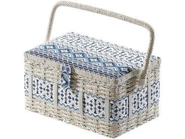 Home affaire Nähkästchen, eckig, aus Kunststoff und Textil mit blau weißem Muster, bunt, bunt
