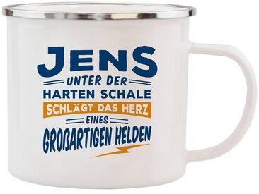 HTI-Living Echter Kerl Emaille Becher »Jens«, weiß, Weiss