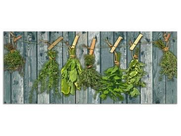 Artland Küchenrückwände »Team 5: Kräuter mit Holzoptik«, grün, 50x120 cm, Grün
