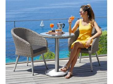 MERXX Gartenmöbelset »Paris Boulevard«, 5-tlg., 2 Sessel, Tisch Ø 65 cm, Polyrattan, grau, grau/beige