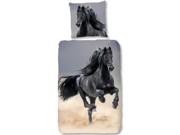 good morning Kinderbettwäsche »Friesian«, mit Pferd, natur, 1x 135x200 cm, Baumwolle, multi