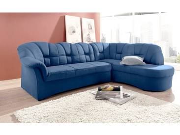 DOMO collection Ecksofa, blau, 241 cm, Ottomane rechts, blau