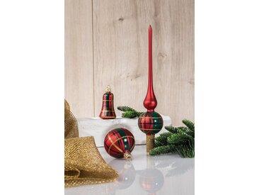 HGD Holz-Glas-Design Glaskugelsortiment Dekor 39teilig, rot, Satin-Rot/Grün
