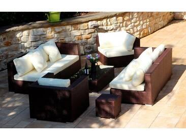 Baidani BAIDANI Loungeset »Blizzard«, 1 XXL Sofa, 1 Sessel, Beistelltisch, Tisch, Polyrattan, braun, braun/cremeweiß