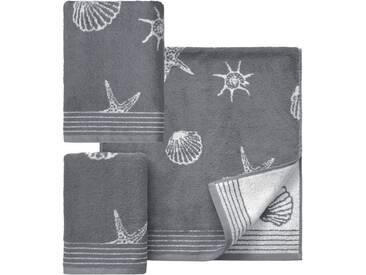 Dyckhoff Handtuch Set, »Seashell«, mit Muschelmuster, grau, 3tlg.-Set (siehe Artikeltext), grau