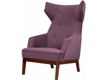 TOM TAILOR Ohrensessel »COZY«, im Retrolook, mit Kedernaht und Knöpfung, Füße nussbaumfarben, lila, purple TUS 38