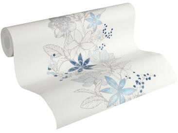 Esprit Vliestapete »Romantic Botanics«, floral, leicht glänzend, FSC®, RAL-Gütezeichen, schwer entflammbar nach DIN 4102, bunt, blau-weiß