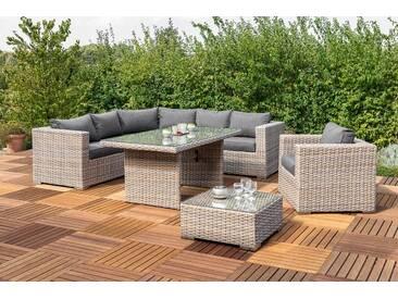 MERXX Loungeset »San Priamo«, 19-tlg., Rundecke, Sessel, Tisch, Loungetisch, Polyrattan, natur, natur