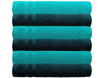 Lashuma Handtuch Set »London« (Set, 6-tlg), 6 teiliges Waschlappen Set, Kleine Frottee Gästehandtücher 30x30 cm, grün, malibu-seegrün