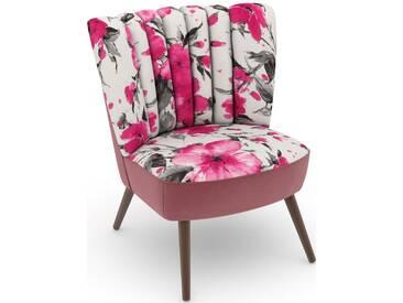 Max Winzer® build-a-chair Stuhlsessel »Aspen« im Retrolook, zum Selbstgestalten, rosa, Korpus: Samtvelours rosé, Microvelours Blüte pink