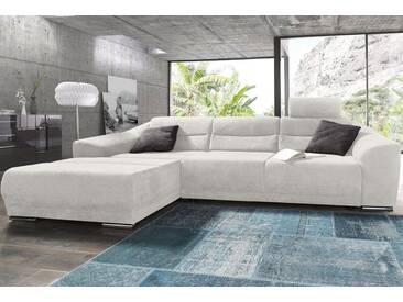 sit&more Ecksofa, grau, 294 cm, Recamiere links, grau/weiß