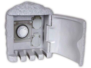 näve Gartenleuchte, Outdoor Steckdosenverteiler mit Timer, grau, H:21 cm, grau