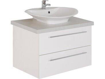 MARLIN Waschtisch »Laos 3110«, Breite 80 cm, Becken mittig, weiß, Aufsatzbecken »VEGA«, Mineralmarmor