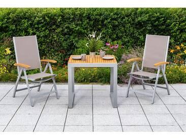 MERXX Gartenmöbelset »Naxos«, 3tlg., 2 Sessel, Tisch, klappbar, ausziehbar, Akazien, natur, natur